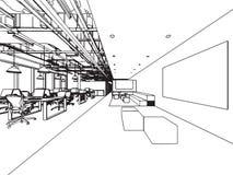Ufficio interno di prospettiva del disegno di schizzo del profilo royalty illustrazione gratis