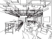 Ufficio interno di prospettiva del disegno di schizzo del profilo illustrazione vettoriale