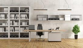 Ufficio moderno in bianco e nero Fotografie Stock Libere da Diritti