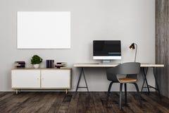Ufficio moderno con il posto di lavoro Fotografie Stock Libere da Diritti