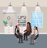 Ufficio moderno con la seduta dell'uomo d'affari illustrazione di stock