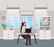 Ufficio moderno con la seduta dell'uomo d'affari illustrazione vettoriale
