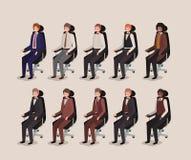 Ufficio moderno con la seduta dell'uomo d'affari royalty illustrazione gratis