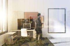 Ufficio moderno, installazione di arte, manifesto tonificato Fotografia Stock