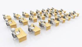 Ufficio open space con le figure 3D illustrazione vettoriale