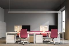 Ufficio open space grigio, centro di affari illustrazione di stock