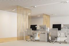 Ufficio open space moderno bianco e di legno Fotografie Stock