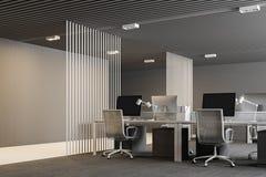 Ufficio open space moderno bianco e grigio Immagine Stock Libera da Diritti