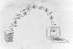 Ufficio senza carta: documenti di esame e carta di tornitura nei dati Fotografia Stock Libera da Diritti