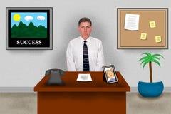 Ufficio virtuale di affari, uomo che si siede allo scrittorio del lavoro Fotografia Stock