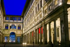 Uffizi en la noche, Florencia, Italia Fotos de archivo libres de regalías