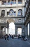 Uffizi FIRENZE. The Uffizi Gallery Piazzale degli Uffizi in the morning with people, Florence, Italy stock photos