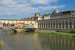 The Uffizi Gallerand Bridge Vecchio  in Florence (Italy) Royalty Free Stock Photography