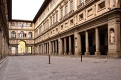 The Uffizi Gallery in Florence in Italy. The Uffizi Gallery in Florence Stock Photos