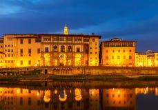 Uffizi museum, Florence, Italy. Embankment of Arno with world famous Uffizi museum at night, Florence, Italy Stock Photo