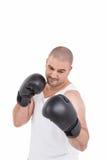Ufnego boksera spełniania bokserska postawa zdjęcia stock