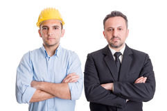 Ufnego inżyniera i biznesowego mężczyzna ręki krzyżować Zdjęcia Royalty Free
