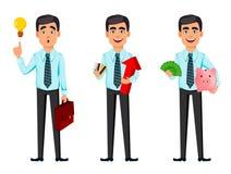 Ufny biznesowy mężczyzna, set trzy pozy ilustracji