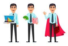 Ufny biznesowy m??czyzna, set trzy pozy ilustracja wektor