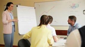 Ufny bizneswoman daje rysunkowej prezentacji na flipchart koledzy w sala posiedzeń Wykonawczy kierownika seans zbiory wideo