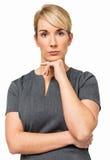 Ufny bizneswoman Z ręką Na podbródku Zdjęcia Royalty Free