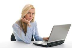 ufny bizneswomanu laptop zdjęcie stock