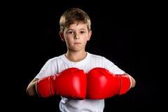 Ufny boksera portret z czerwonymi bokserskimi rękawiczkami wpólnie Broniącej pozyci portret na czarnym tle zdjęcia stock