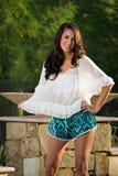 Ufny piękny brunetki mody model Obrazy Royalty Free