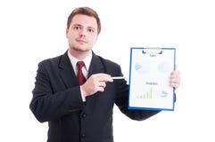 Ufny sprzedaż kierownik pokazuje chartpie lub marketing wynika ch Zdjęcia Stock