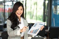 Ufnych bizneswomanów przedstawień księgowości rynku analityczna mapa a Obrazy Stock