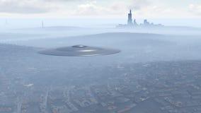 UFO über der Stadt Lizenzfreie Stockfotografie