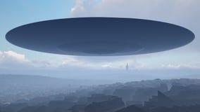 UFO über der Stadt Stockfotos