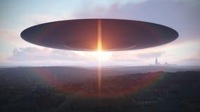 UFO über der Stadt Stockbilder