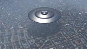 UFO über der Stadt Lizenzfreies Stockfoto