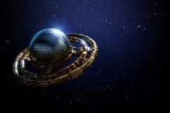UFO, αλλοδαπό διαστημόπλοιο στο μακρινό διάστημα, πετώντας πιατάκι μπροστά από την τρισδιάστατη απεικόνιση αστεριών Στοκ φωτογραφία με δικαίωμα ελεύθερης χρήσης