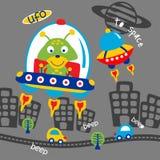 Ufo και αλλοδαπά αστεία ζωικά κινούμενα σχέδια, διανυσματική απεικόνιση διανυσματική απεικόνιση