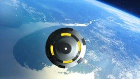 UFO πετά πέρα από τη γη, αφηρημένο Backgrpund ελεύθερη απεικόνιση δικαιώματος
