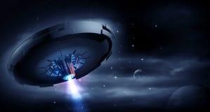 UFO στη σκοτεινή νύχτα Στοκ φωτογραφίες με δικαίωμα ελεύθερης χρήσης