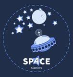 UFO στο διάστημα Πλανήτες και αστέρια διανυσματική απεικόνιση