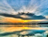 ufo захода солнца облака форменный Стоковая Фотография