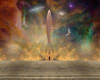 UFO и ангелы иллюстрация вектора