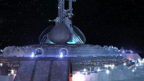 UFO чужеземца около земли иллюстрация вектора