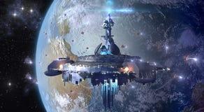 UFO чужеземца около земли Стоковые Изображения