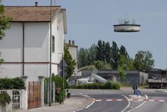 The UFO. Realistic-looking UFO flies over the Italian countryside Royalty Free Stock Photo