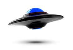 UFO. 3D isolated black UFO hovering in the mid air vector illustration