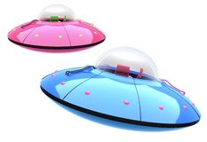 UFO. 3D isolated UFO hovering in the mid air royalty free illustration