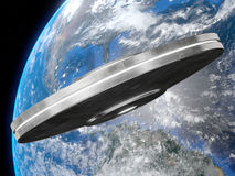 Ufo. Very high resolution 3d rendering of a big UFO facing the earth vector illustration