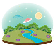 UFO. Cartoon illustration of a UFO and landscapes Stock Photo