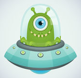 UFO. Illustration of UFO with green alien vector illustration