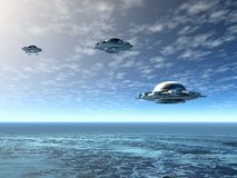 UFO. And ocean. 3D landscape Royalty Free Stock Images